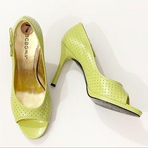 BCBGIRLS  . Peep Toe Perforated Heels . 7.5